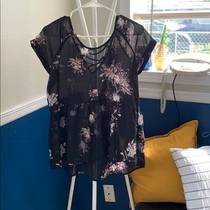 Tops - Black sheer peplum